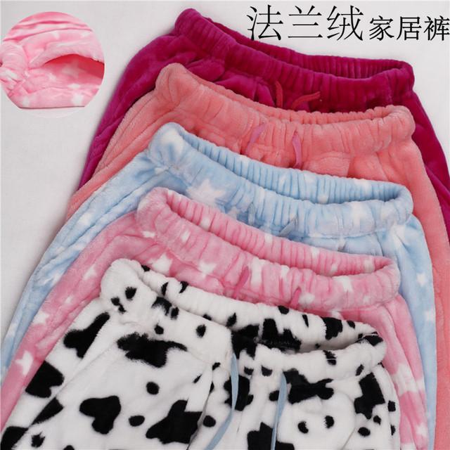 Código sleep bottoms pantalones de pijama de franela hembra invierno con engrosamiento mástil Muebles Para El Hogar pantalones largos pantalones y pareja caliente
