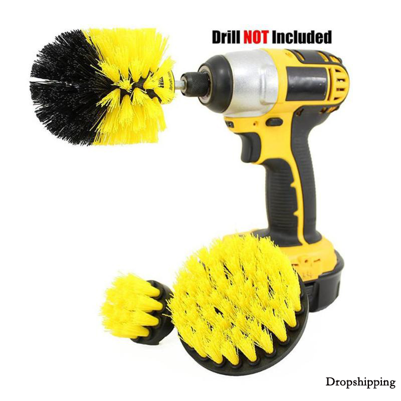 Amiable 3pcs/set Electric Drill Brush Kit Plastic Round Cleaning Brush For Carpet Glass Car Tires Nylon Brushes Set Power Scrubber Drill With Traditional Methods Sports Clothing