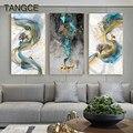Абстрактный Золотой олень картина Tableaux большой размер плакат Синий принт Золотая стена художественная картина F гостиная современный куад...