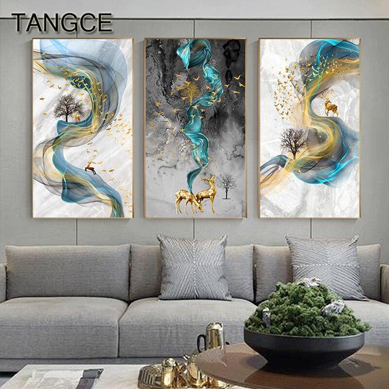 บทคัดย่อ Golden Deer ภาพวาด Tableaux ขนาดใหญ่สีน้ำเงินพิมพ์ทอง Wall Art Picture F ห้องนั่งเล่น Cuadros ผ้าใบ ART
