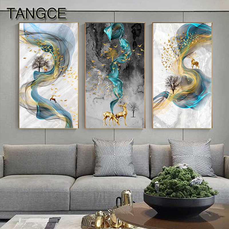 추상 황금 사슴 그림 벽 그림 현대 캔버스 회화 블루 포스터 인쇄 벽 예술 거실 침실 북유럽