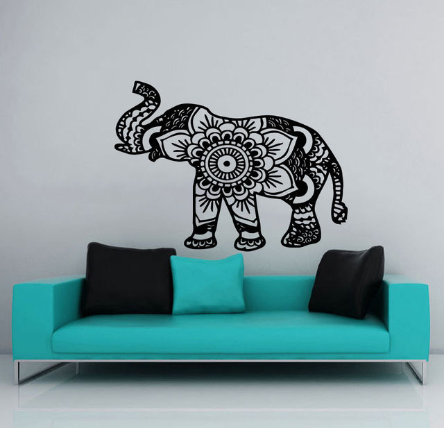22X28inch Removable Wall Stickers Elephant Wall Decal Indian Vinyl Sticker  Home Decor Bedroom Mural Waterproof Wallpaper