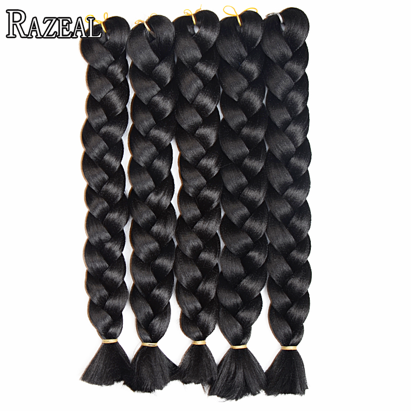 "Razeal 8pcs 18 ""culoare pură 100g sintetic Hair Extension Box Braiding Crochet Braids Fibra de înaltă temperatură"