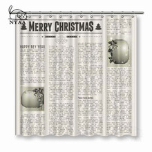 NYAA Christmas Vintage Newspaper Shower Curtains Polyester Fabric For Home Decor