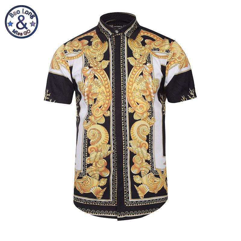 Hawaiian Shirts Summer Style Men Short Sleeve Floral Dress