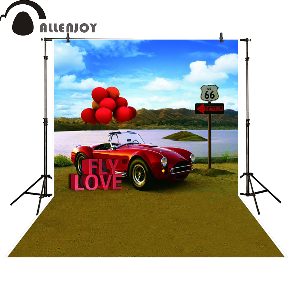 Allenjoy photography backdrop river red car balloon wedding backgrounds for photo studio props photobooth photocall
