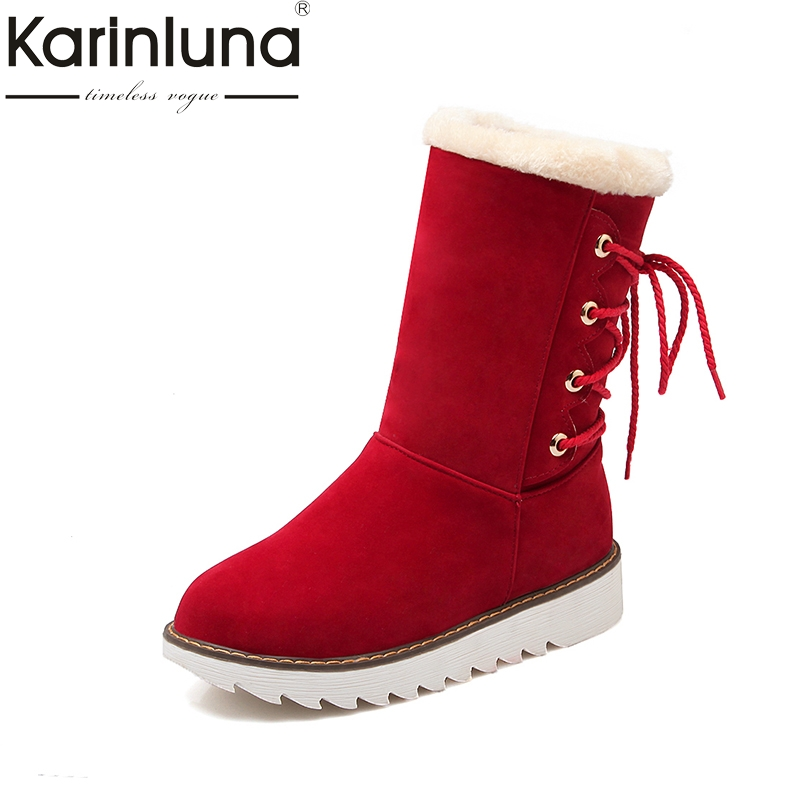 KARINLUNA Big Size 34-43 Shoelace Black Red Women Shoes Woman Comfort Flat Heel Add Warm Fur Plush Winter Snow mid-calf Boots цена