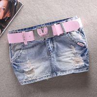 Free Shipping Fashion 2017 Women Ripped Denim Skirts Cowboy Sexy Jeans Skirts Ladies Casual Mini Skirt