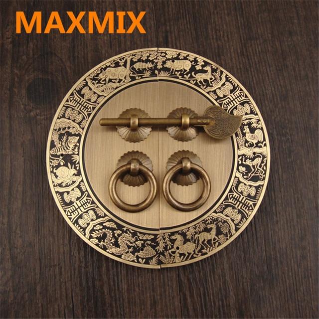 Us 1654 12 Offmaxmix 140mm Zodiac Ronde Koper Handvat Antiek Handvatten Voor Meubels Kast Dubbele Open Deur Kast Knoppen Pull In Maxmix 140mm