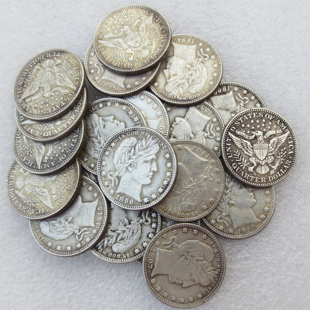 A set of 1892-1915 Barber Quarter Dollars 21pcs Mintmark: S Different Date Material Silver Plated or 90% Silve Copy Coin