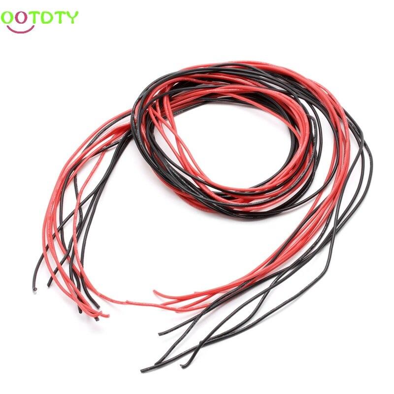 1 комплект 22AWG стандартный провод силиконовый гибкий многожильный V # медные кабели 5 м аксессуары для RC черный красный-in Детали и аксессуары from Игрушки и хобби