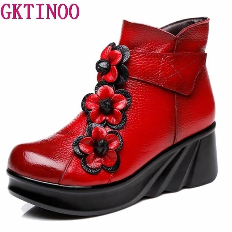 GKTINOO Genuine Leather Autumn Winter Boots Retro Handmade Women Ankle Boots Female Wedges Boots Women Platform