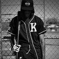 Винтаж Мода Унисекс LA KTZ Tyga Хип-Хоп Повторяющийся Футболке бейсбол Джерси Новые приходят Баски топы Черная футболка Мужчин одежда
