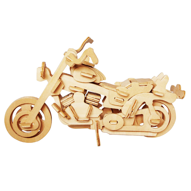 A Toys For Children 3d Puzzle Diy Wooden Puzzle Motorcycle Hd I A