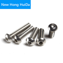 M2.5 Hex Head Button Socket Cap Screw Allen Hexagon Thread Metric Pan Round Head Machine Mushroom Bolts 304 Stainless Steel 100pcs lot m2x12 mm m2 12 mm yuan cup half round head 304 stainless steel hex socket head cap screw bolts