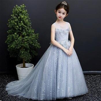 2019 Children Girls Model Show Fashion Luxury Long Trailing Mesh Dress Kids Teens Elegant Evening Party Ceremonies Long Dress