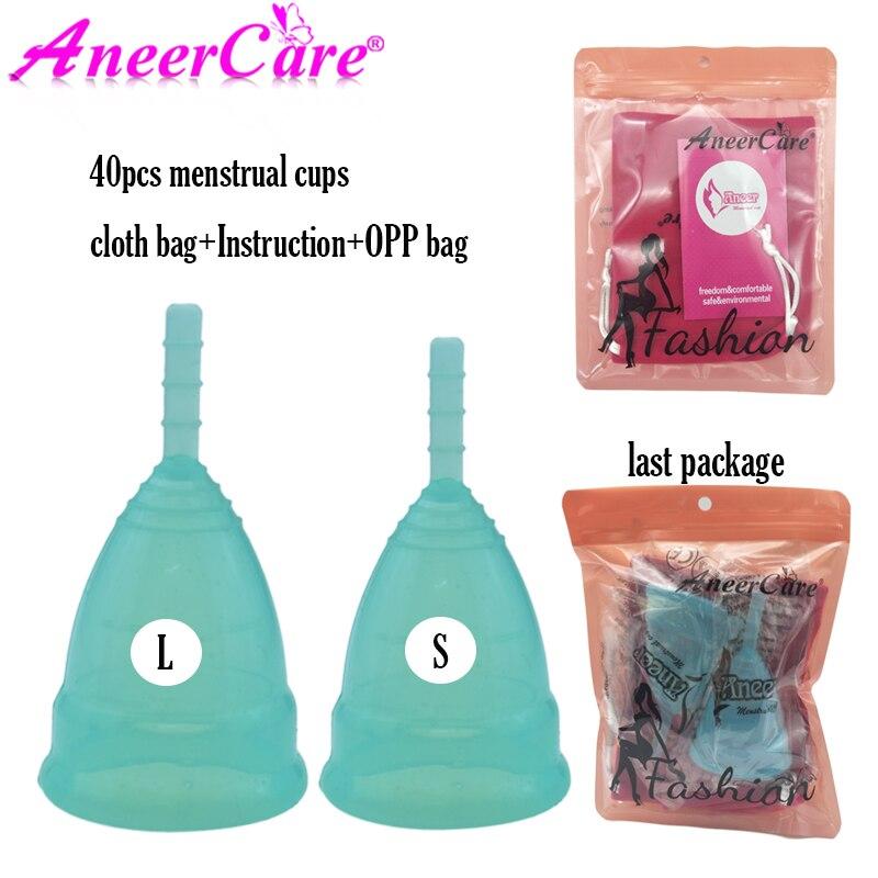 Güzellik ve Sağlık'ten Kadın Hijyenik Ürün'de 40 adet tıbbi kullanıma uygun silikon menstrüal kap Kadınsı Hijyen Copa regl Bayan Dönemi Fincan Coppetta Mestruale Coupe Menstruelle'da  Grup 1