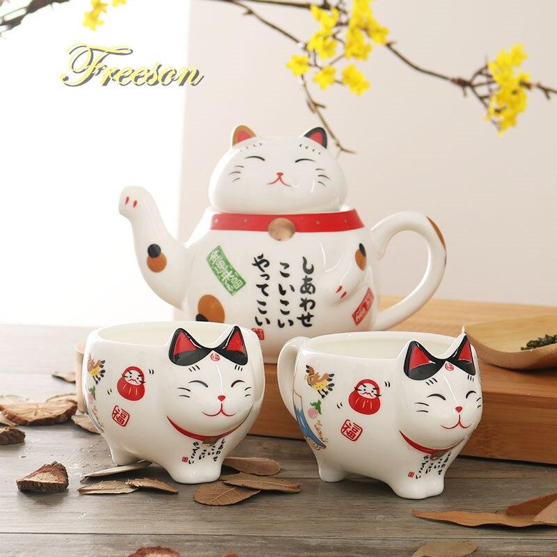 חמוד יפני מזל חתול פורצלן תה סט יצירתי Maneki Neko קרמיקה תה כוס סיר עם מסננת יפה Plutus חתול קומקום ספל