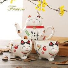 Śliczny japoński kot na szczęście porcelanowy zestaw do herbaty kreatywny Maneki Neko ceramiczny kubek na herbatę garnek z sitkiem piękny kot bogactwa kubek czajniczek