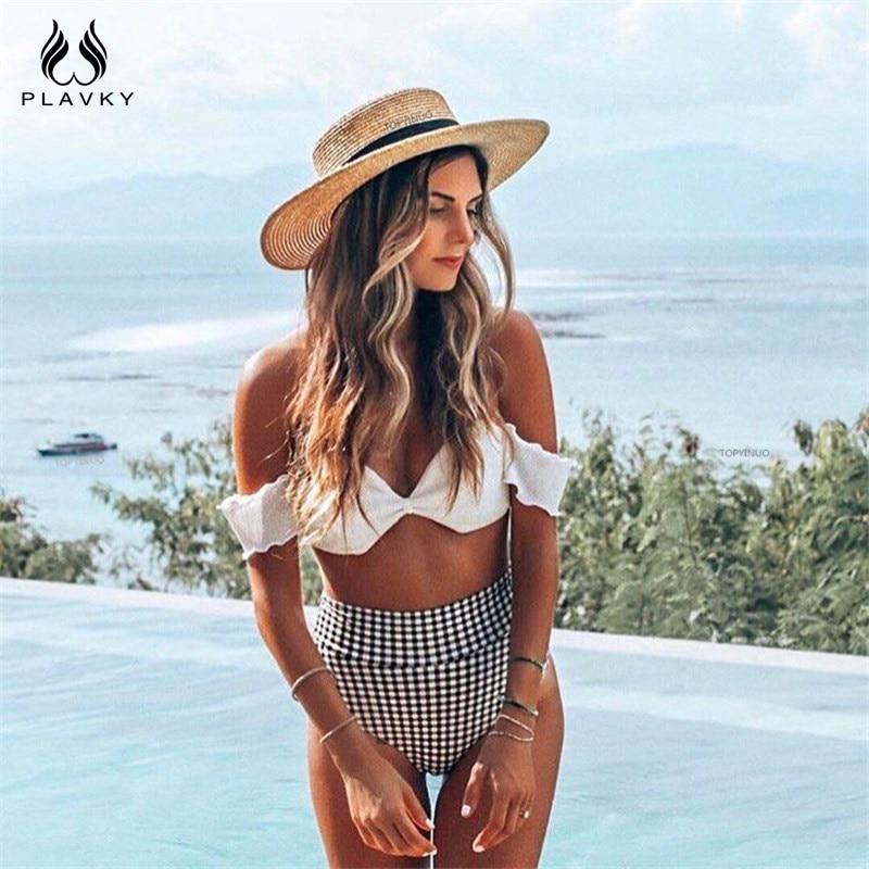 2019 Sexy Damen Retro Plaid Bandeau Off Schulter Bikini Hohe Taille Badeanzug Weibliche Bademode Frauen Biquini Schwimmen Badeanzug