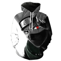Autumn Winter 3d Sweatshirts Men Women Hoodies With Hat Print Naruto Hatake Kakashi Men S Hooded