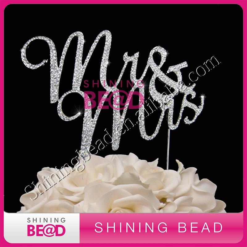 Mr & Mrs kristāla rhinestone kūka topper kāzu jubilejai, bezmaksas - Svētku piederumi