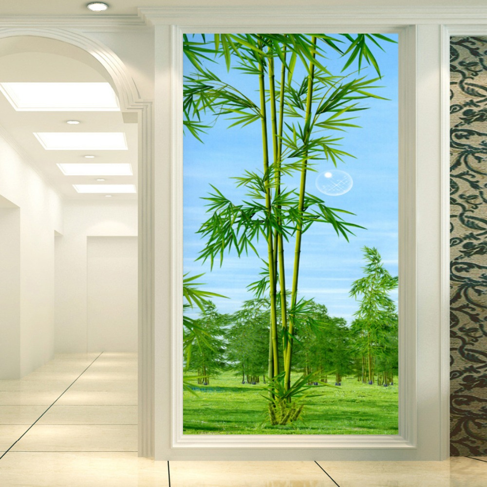 High Quality Custom 3D Mural Wallpaper Non-woven Fabric Large Wall Mural Bamboo Living Room Entrance Backdrop Papel De Parede the new high quality imported green cowboy training cow matador thrilling backdrop of competitive entrance papeles