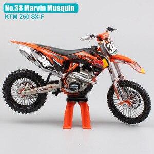 Image 2 - Motocicleta KTM 250 SXF red bull n. ° 38 modelo de Motocross, motocicleta de escala 1:12, motocicleta fundido a presión, modelo redbull, bicicleta de carreras, miniaturas de juguete