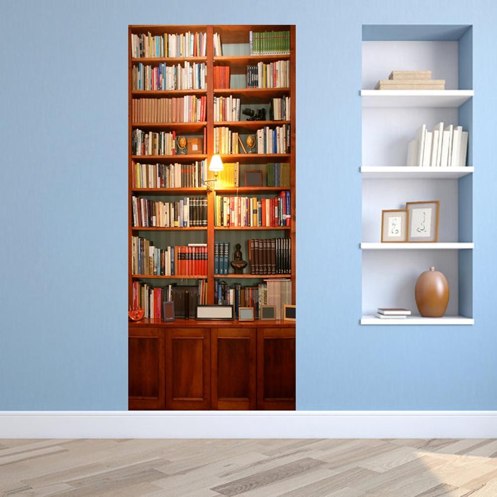 3D DIY Creative Retro Vintage Bookcase Door WallPaper Mural Wall Sticker PVC Waterproof Living Room kid's Room Home Decor