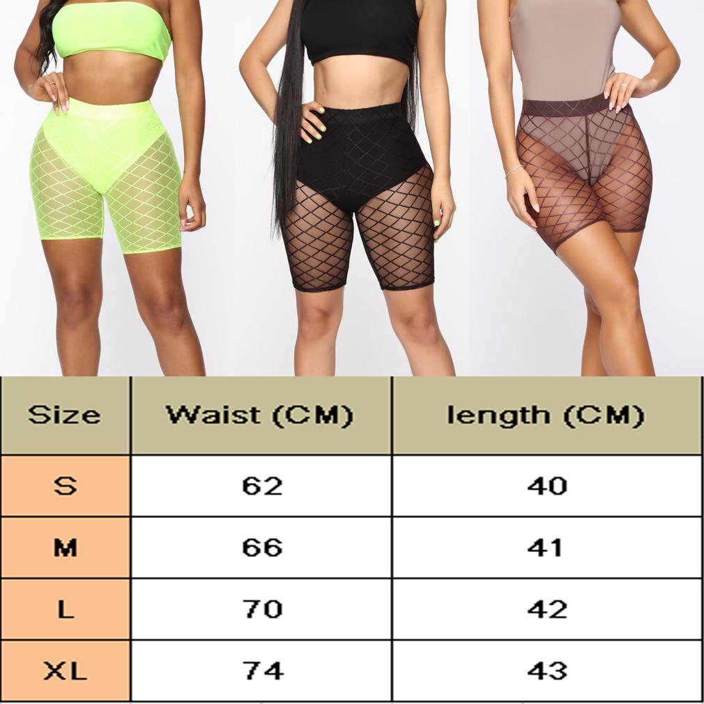 Pantalones Cortos Sexys De Malla Transparente Para Mujer Pantalones Cortos Ajustados De Cintura Alta Y Malla Transparente Pantalones Cortos Elasticos Para Entrenamiento De Mujer Yellow Linio Peru Un055fa0frro3lpe