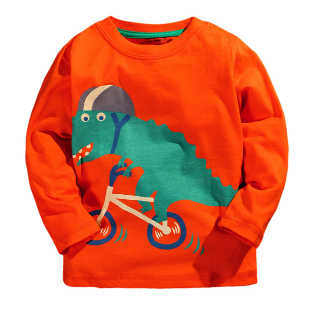 HTB1YpyRPVXXXXawXpXXq6xXFXXXE - New 2017 Branded Orange dinosaurs Baby Boys t shirts Kids Clothing Clothes Children Long Sleeve t-shirts Boys Blouse Boys