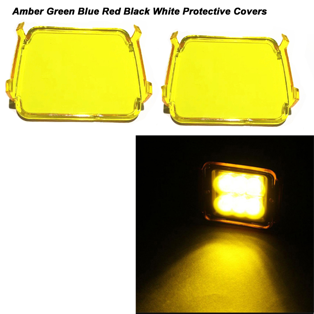 1pc 3x3Inch Led Work Light Protective Cover Make Led Fog Light Color Changing White Amber Green Blue Black Red Led Warning Light