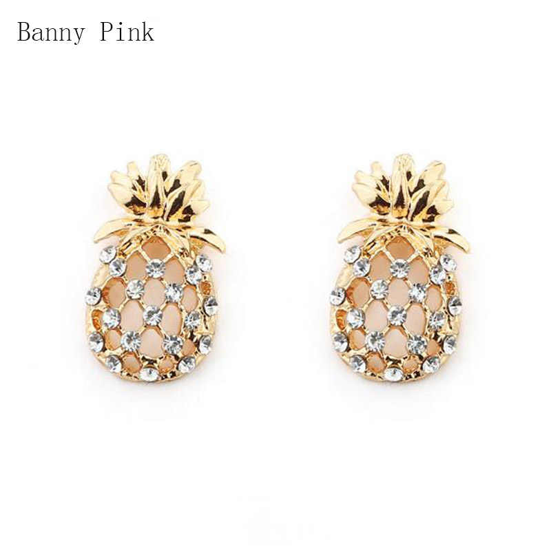 Cute Alloy Pineapple Studs Earrings For Girls Romantic Crystal Post Earring Fashion Jewelry Chunky Metal Studs Earring Pendietes