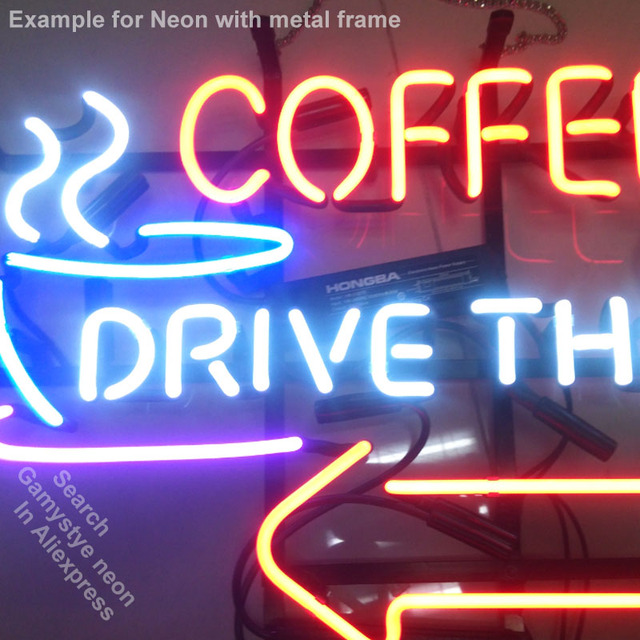 NEON SIGN For Coffee Drive Thru with Right Arrow BAR PUB Club Room display Restaurant Shop Light Signs neon signs for sale 1