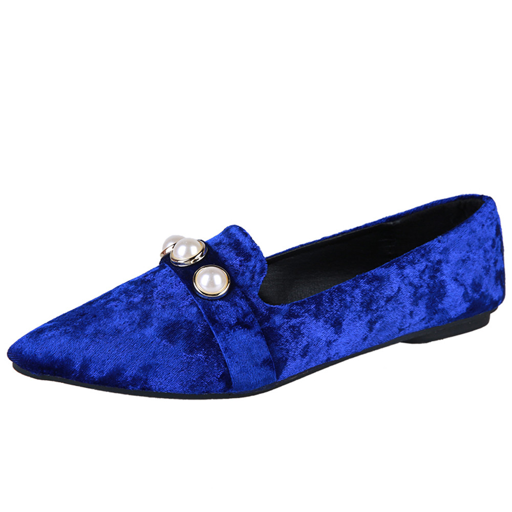 Women Ladies Slip On Flat Pointed Shallow Casual Shoes Solid Fashion Loafer Female Pearl Pedal Leisure flat shoes single shoes women flat shoes new spring female casual women shoes slip on flat leisure bowtie bowknot ladies trend fashion shoes size 35 39