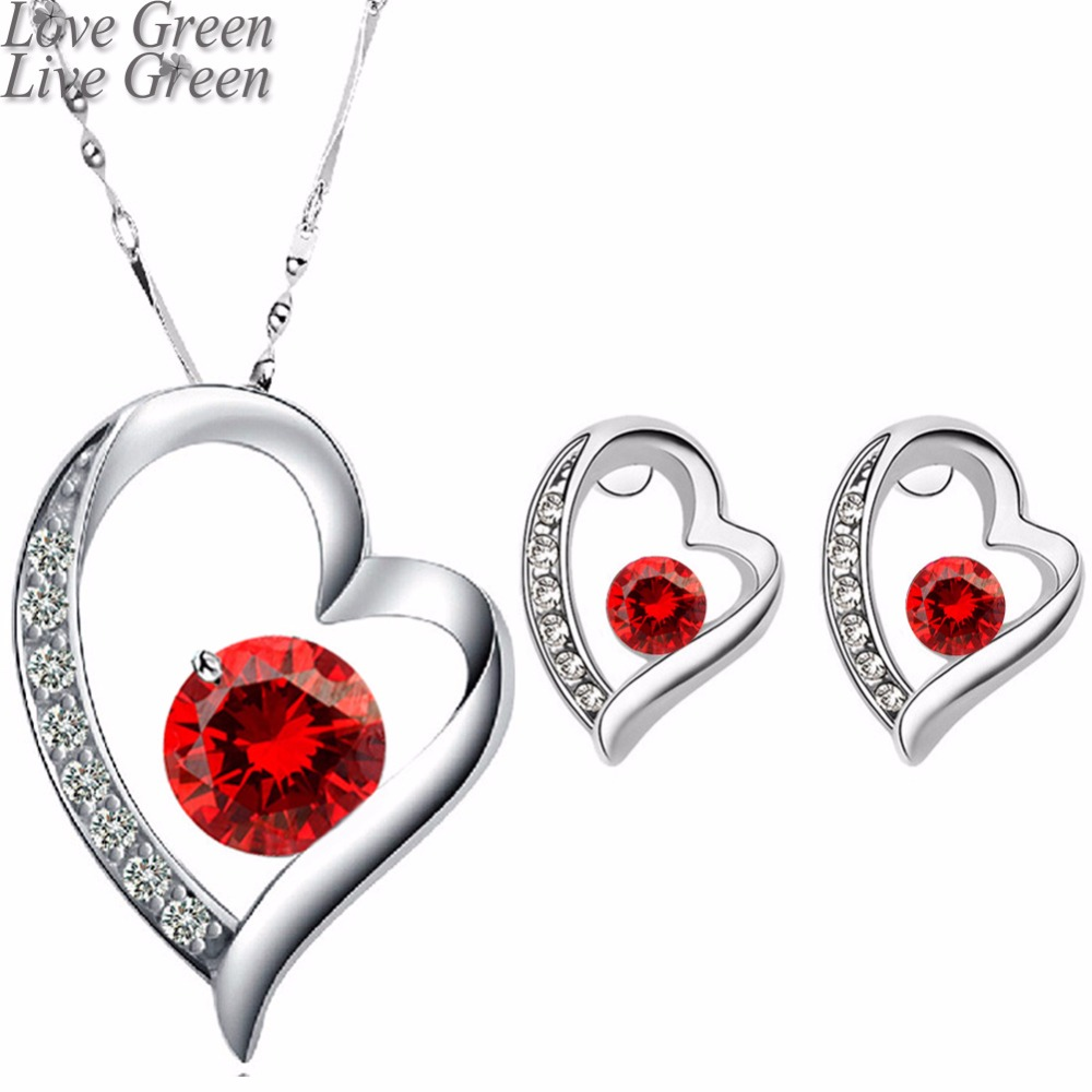 factory wholesales Fashion Bride gold color Zircon Rhinestones Heart Pendant Necklace Earrings jewelry sets 4008