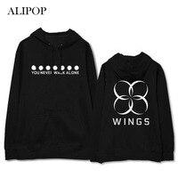 Youpop Kpop BTS FLÜGEL Sie Nie Gehen Allein Album Hoodie Mit Hut Hoodies Kleidung Pullover Gedruckt Langarm Sweatshirts WY425