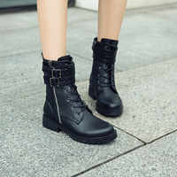 PXELENA Zipper Buckle Women Motorcycle Martin Boots Low Heels Punk Rock Gothic Military Combat Biker Riding Ankle Boots Female
