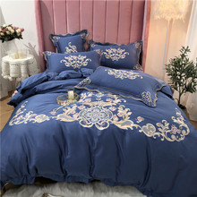 New Luxury Gold Royal Embroidery 60S Egyptian Cotton Bedding Set Blue Pink Purple Green Duvet Cover Bed sheet/Linen Pillowcases