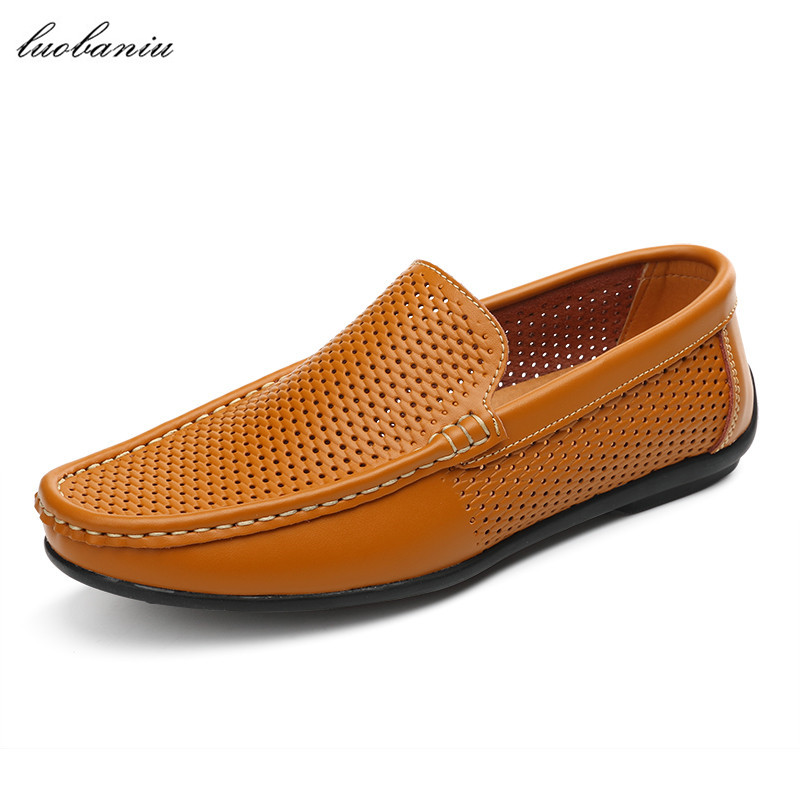 Summer Shoes Men Loafers Breathable Moccasins Men Leather Shoes Driving Slip On High Quality new summer shoes genuine leather men flats summer moccasins men shoes slip on breathable soft leather high top quality 39 44