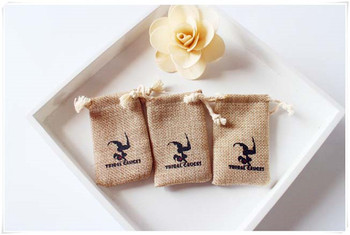 Custom logo chocolate burlap packaging bags Wedding Party Gift Bags pouches jute Free shipping