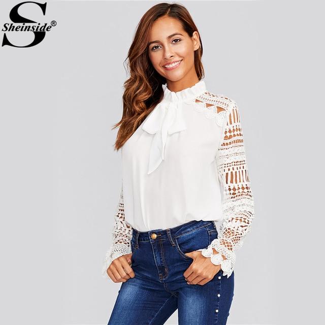 62feb7562353ce Sheinside Geo Lace Sleeve White Blouse Women Frilled Tie Neck Long Sleeve  Tops Autumn Elegant Office Ladies Work Wear Blouse