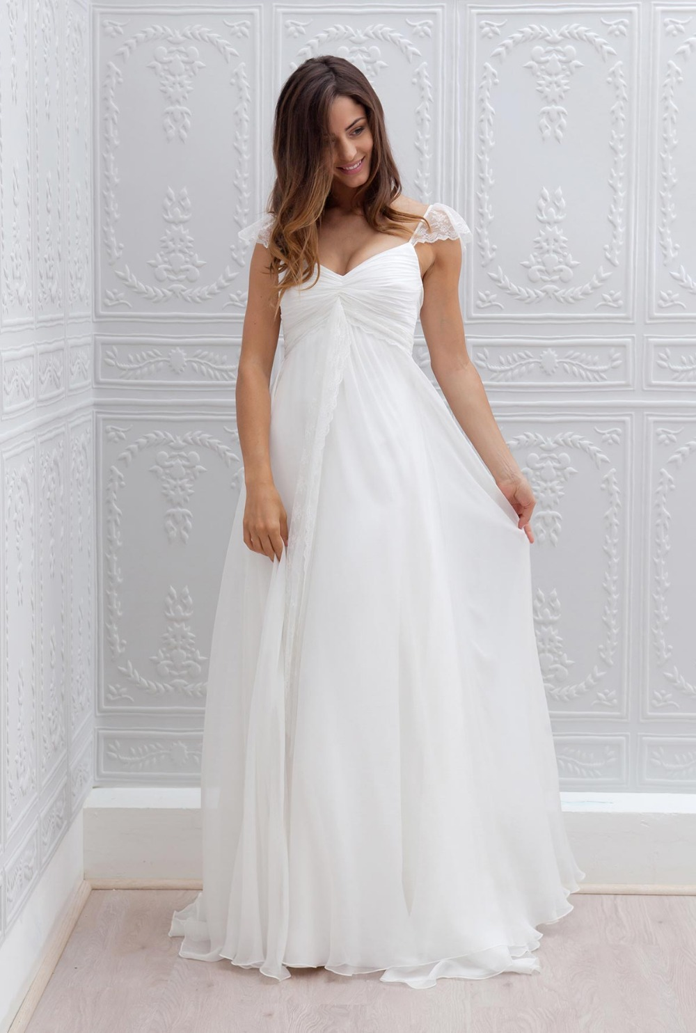maternity wedding dress with sleeves 2016 new cheap cap sleeves lace chiffon a line empire 5755