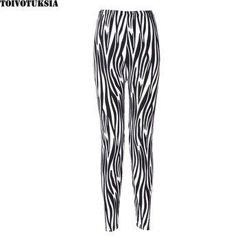 TOIVOTUKSIA Women's Zebra Leg Leggings Black Milk Flame Print Designer Pants Women Legging Summer Black Milk Spandex Leggins 2