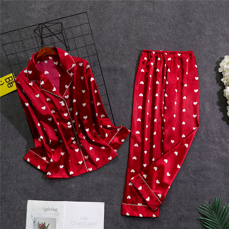 Sexy Red Womens Shirt Pants   Pajamas     Sets   Sleepwear Lady Home Wear Nightgown Suit Robe Bath Gown Spring Autumn Sleepshirts M-XL