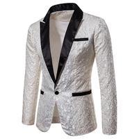 2019 Men's Lapel One Button Jacquard Blazer Coat Long Sleeve Suit Jacket Men Suit Set Wedding Suits Groom Tuxedos