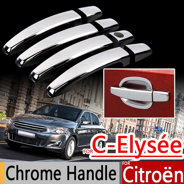 Prix pour Pour Citroen C-Elysee 2013-2017 Chrome Poignée Couvre L'équilibre Set de 4 Pcs C Elysee Voiture Accessoires autocollants De Voiture Style 2014 2015