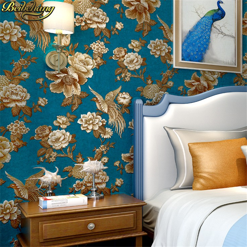 beibehang papel de parede 3D American relief flowers bird Wall Paper Living Room Wallpaper For Walls papel contact TV background beibehang ktv gold silver square papel de parede 3d wallpaper rolls tv background wall paper 3d all mosaics wallpaper for walls