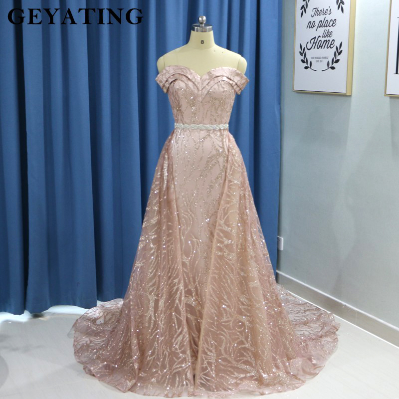 Sparkly Rose Gold Long Sleeves Mermaid Evening Dress with Detachable Train Dubai Kaftan Moroccan Arabic Prom Formal Dresses 2019(China)