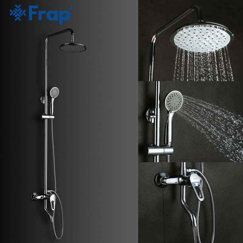 Frap modern wall mounted Rain Shower Set Chrome Plated hot and cold mixer in bathroom Rain Shower Head Hand Shower Faucet F2401D